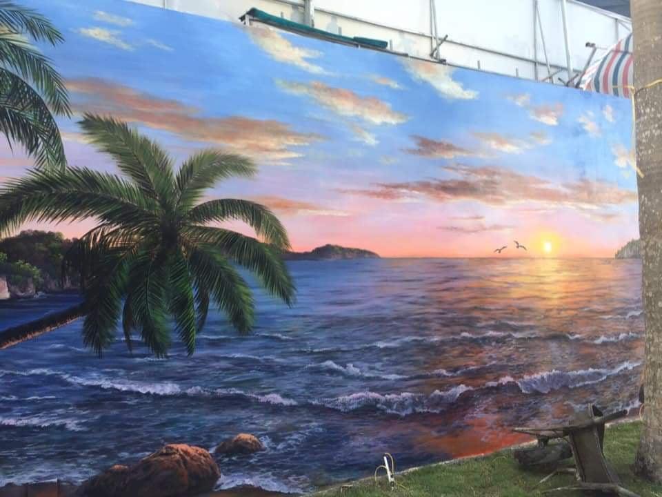 Thi công vẽ tranh tường tại Quảng Ninh cảnh sóng biển mới nhất