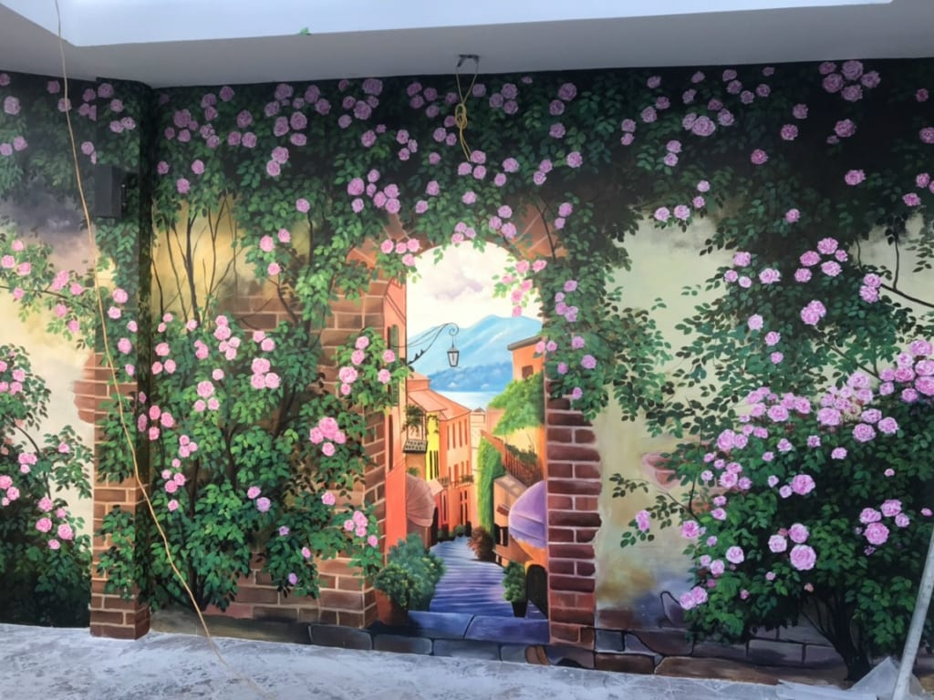 tranh tường 3d hoa hồng