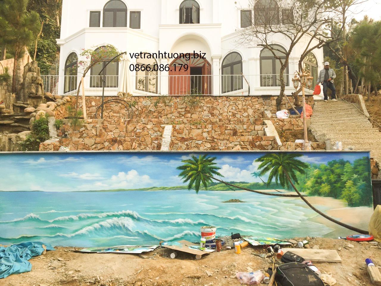 vẽ tranh tường phong cảnh biển tại thái bình