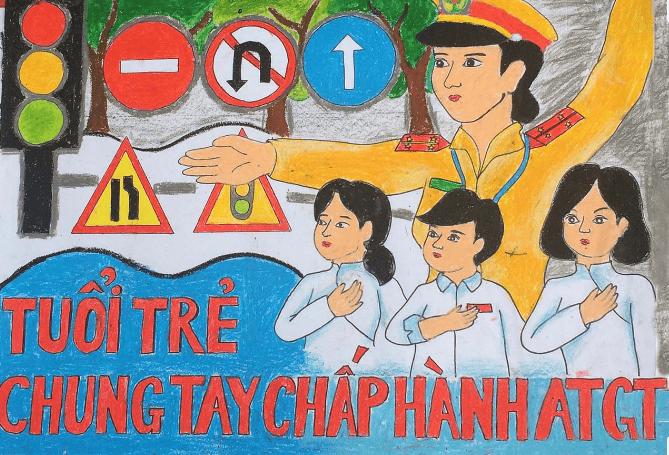 vẽ tranh an toàn giao thông 5
