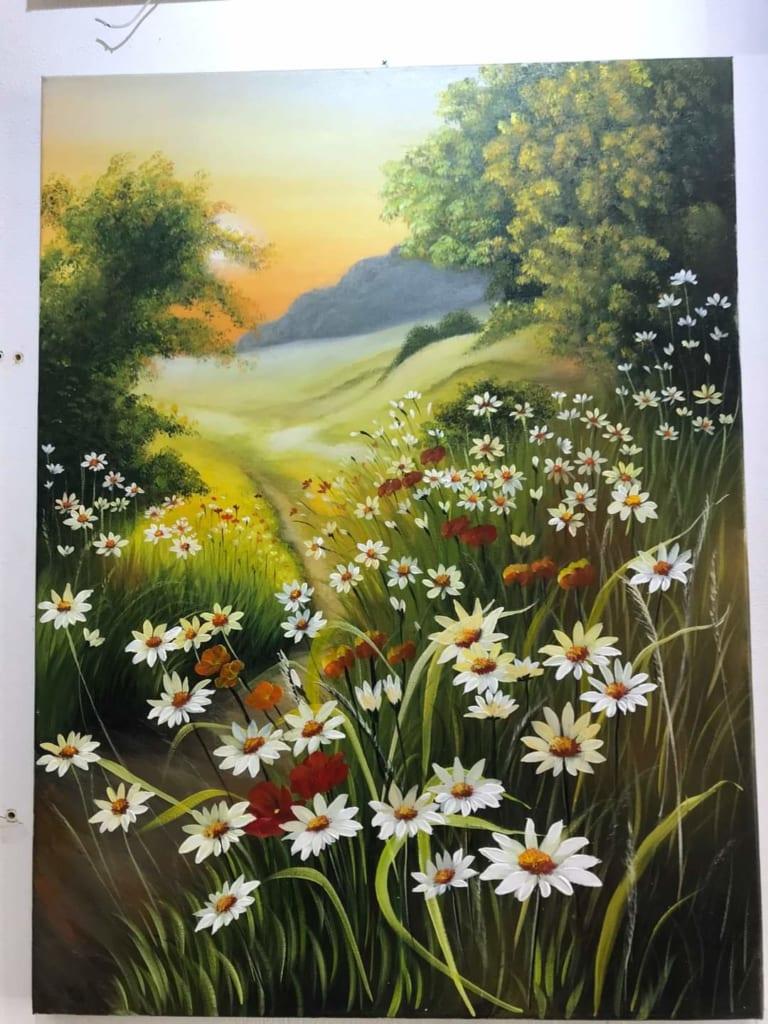 vẽ tranh phong cảnh hoa