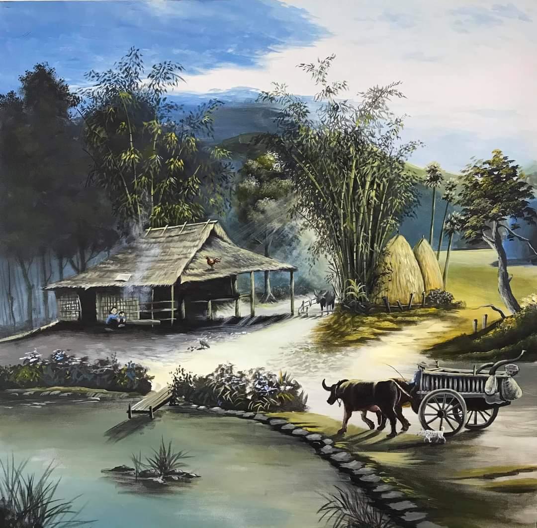 tranh tường đồng quê