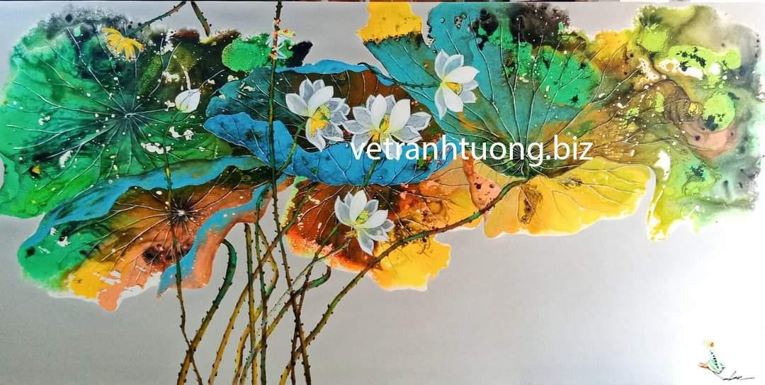vẽ tranh tường quán cafe hoa sen