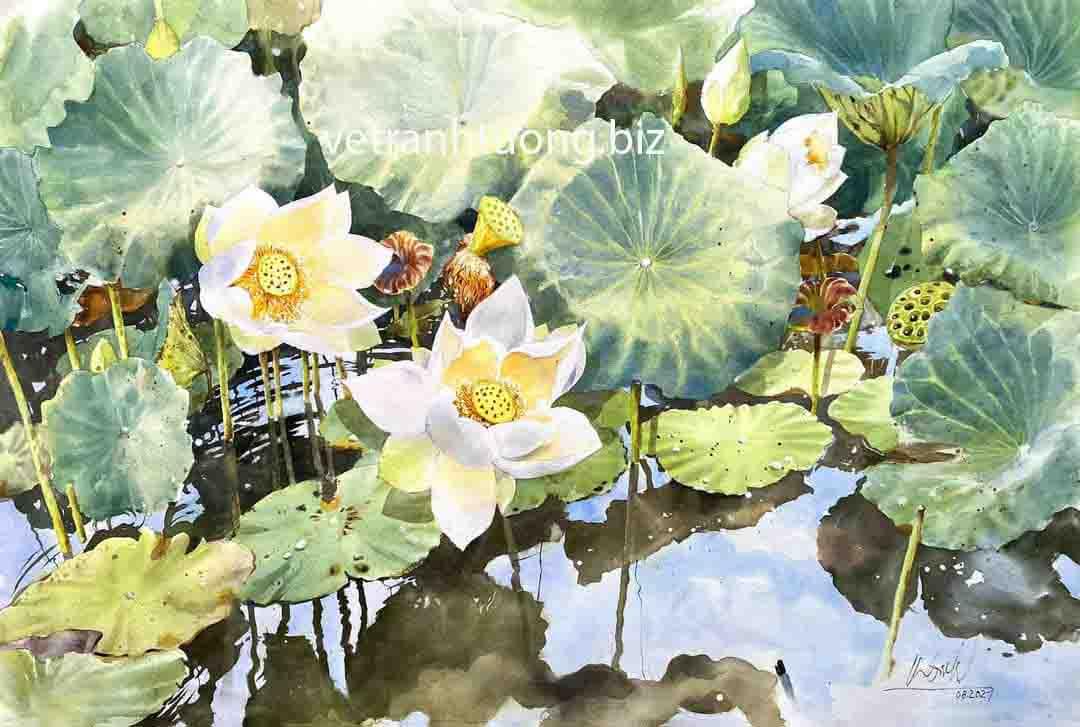tranh tường 3d hoa sen