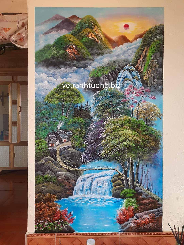 vẽ tranh tường bắc giang sơn thủy