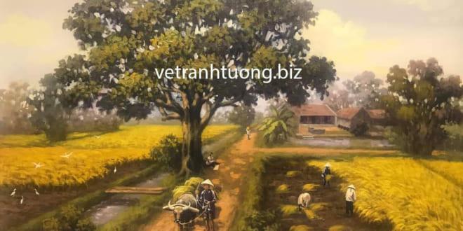 Vẽ tranh đồng quê + Mẫu tranh cánh đồng lúa đẹp gợi nhớ quê hương - Vẽ tranh tường Hà Nội