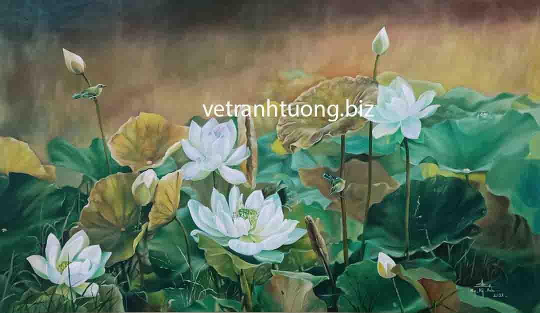 vẽ tranh tường hoa sen trong phòng khách tại bắc giang