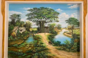 vẽ tranh tường phòng khách phong cảnh đồng quê tại thái bình