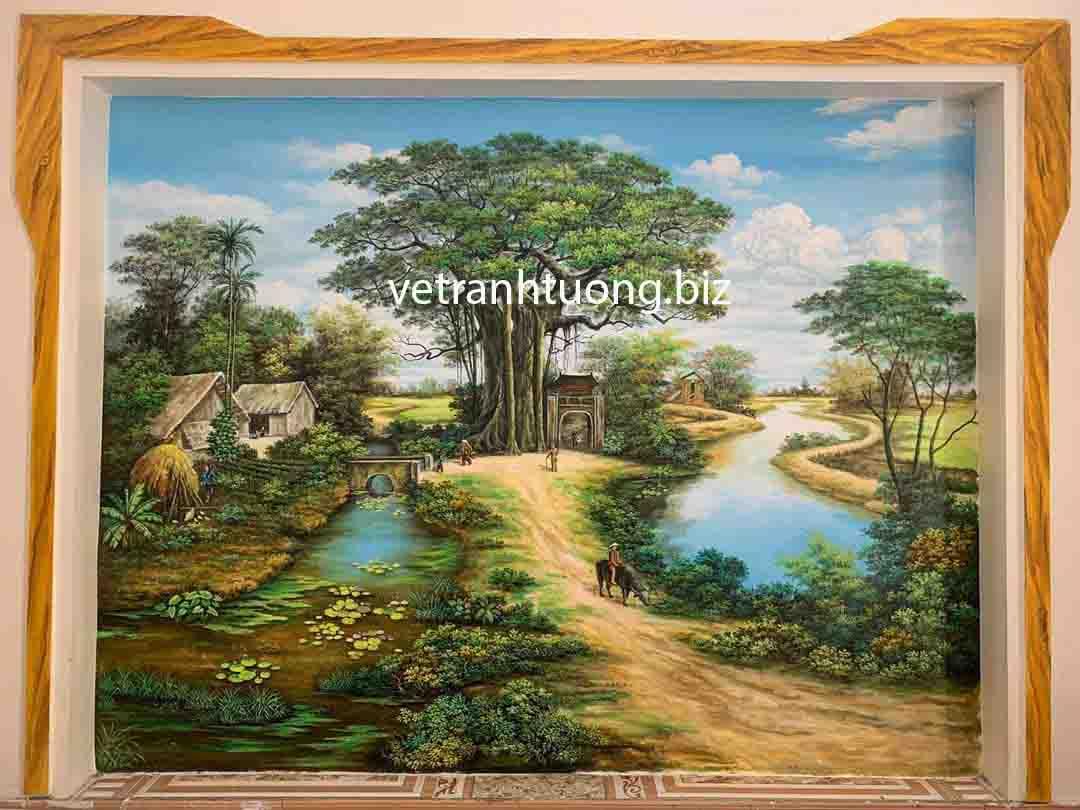 vẽ tranh tường phòng khách phong cảnh đồng quê tại Tuyên Quang