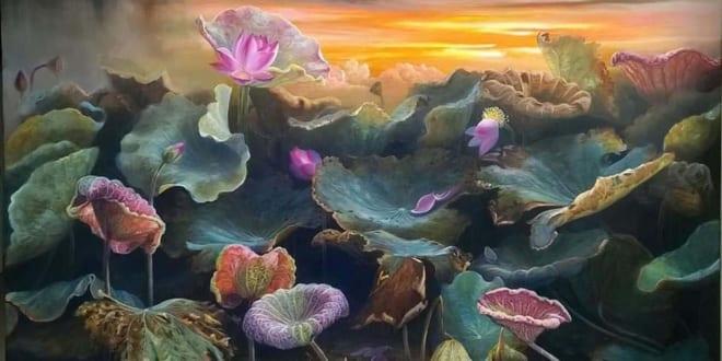 Vẽ tranh tường hoa sen 3D trên tường có đẹp và bền không? - Vẽ tranh tường Hà Nội
