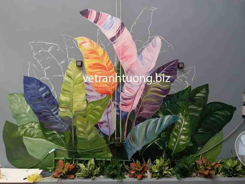 vẽ tranh tường phòng ngủ phong cách hoa lá đơn giản