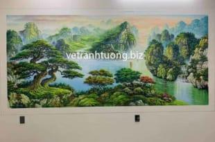 vẽ tranh tường sơn thủy tại phòng khách