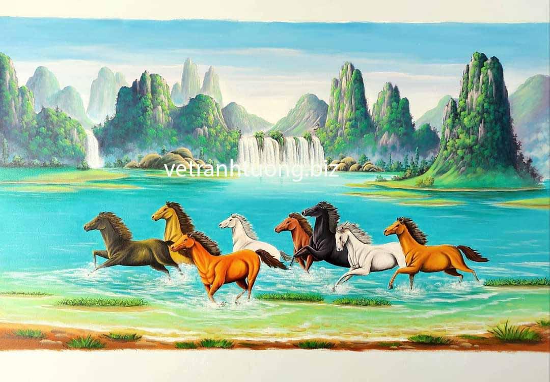 vẽ tranh tường sơn thủy