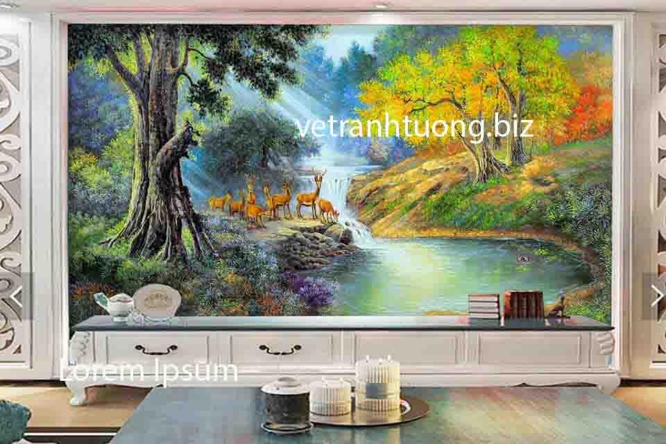 vẽ tranh tường phòng khách tại Tuyên Quang 1 bức tranh 3D phong cảnh