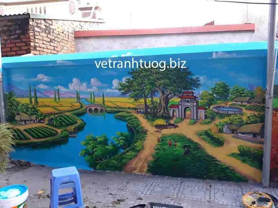 Thi công vẽ tranh tường tại Tuyên Quang phong cảnh đồng quê